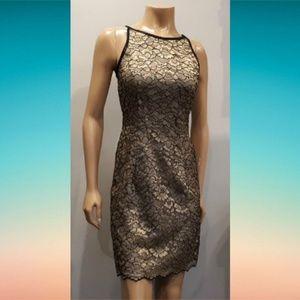 Joseph Ribkoff Gold Metallic Floral Mesh Dress